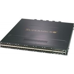 Supermicro SSE-F3548SR 25Gb/s and 100Gb/s 1U Ethernet switch with SMIS (Supermicro Inteligent Switch) software, 48 SFP28 ports and 6 QSFP28 ports, 2 power supplies (AC), reverse (P2C) airflow