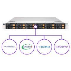 ServerSimply StarWind Storage NVMe Solution - 1U - Dual Intel Xeon Scalable Processors - up to 128GB memory - 10x NVMe - MS Windows Server 2019 Standard - 1200W Redundant