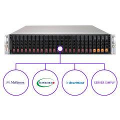 ServerSimply StarWind Storage SAS SSD and NVMe Hybrid Solution - 2U - Dual Intel Xeon Scalable Processors - 64GB memory - 24x drive bays - Broadcom 3108 - 2x 25Gb/s SFP28 - MS Windows Server 2019 Standard - 1000W Redundant