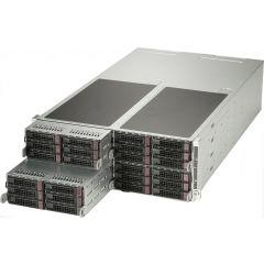 FatTwin SuperServer SYS-F629P3-RTBN - 4U - 4 nodes - Dual Intel Xeon Scalable Processors - up to 3TB memory - 8x SATA (2x NVMe) - 1x GPU - 1200W (2 + 2) Redundant
